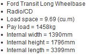 Cheap Van Hire Gloucester LWB long wheelbase van
